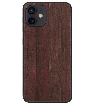 ADEL Siliconen Back Cover Softcase Hoesje voor iPhone 12 Mini - Hout Design Bruin