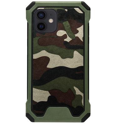 ADEL Kunststof Bumper Case Hoesje voor iPhone 12 Mini - Camouflage Groen