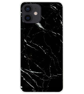 ADEL Siliconen Back Cover Softcase Hoesje voor iPhone 12 Mini - Marmer Zwart