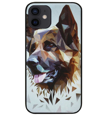 ADEL Siliconen Back Cover Softcase Hoesje voor iPhone 12 Mini - Duitse Herder Hond