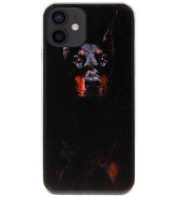 ADEL Siliconen Back Cover Softcase Hoesje voor iPhone 12 Mini - Dobermann Pinscher Hond