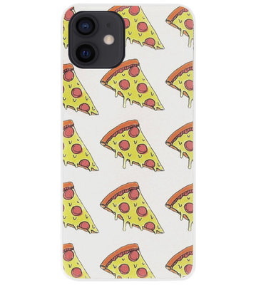 ADEL Siliconen Back Cover Softcase Hoesje voor iPhone 12 Mini - Junkfood Pizza