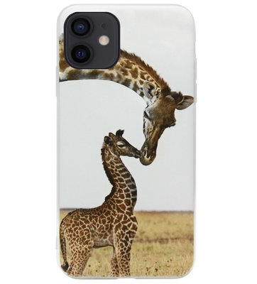 ADEL Siliconen Back Cover Softcase Hoesje voor iPhone 12 Mini - Giraf