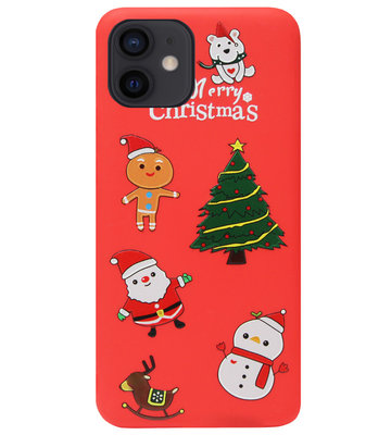 ADEL Siliconen Back Cover Softcase Hoesje voor iPhone 12 Mini - Kerstmis Rood