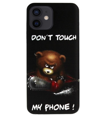 ADEL Siliconen Back Cover Softcase Hoesje voor iPhone 12 Mini - Don't Touch My Phone Beren