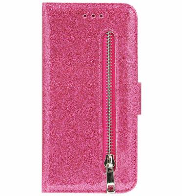 ADEL Kunstleren Book Case Pasjes Portemonnee Hoesje voor iPhone 12 Mini - Bling Bling Glitter Roze