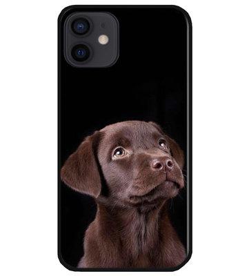 ADEL Siliconen Back Cover Softcase Hoesje voor iPhone 12 Mini - Labrador Retriever Hond Bruin