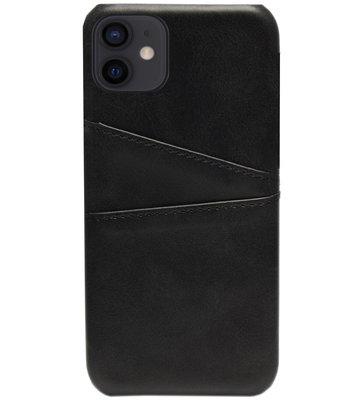 ADEL Kunstleren Back Cover Pasjes Hoesje voor iPhone 12 Mini - Zwart