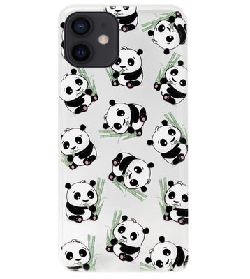 ADEL Siliconen Back Cover Softcase Hoesje voor iPhone 12 Mini - Panda Liggend