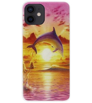 ADEL Kunststof Back Cover Hardcase Hoesje voor iPhone 12 Mini - Dolfijn