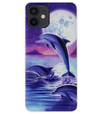 ADEL Kunststof Back Cover Hardcase Hoesje voor iPhone 12 Mini - Dolfijn Blauw