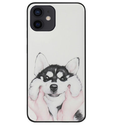 ADEL Siliconen Back Cover Softcase Hoesje voor iPhone 12 Mini - Husky Hond