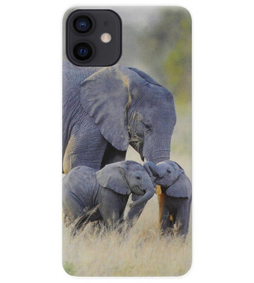 ADEL Siliconen Back Cover Softcase Hoesje voor iPhone 12 Mini - Olifant Familie