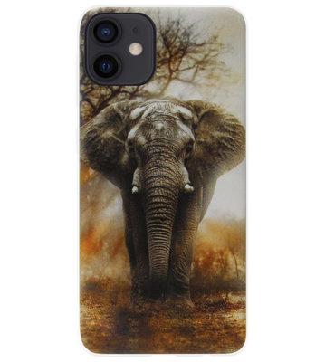 ADEL Siliconen Back Cover Softcase Hoesje voor iPhone 12 Mini - Olifanten