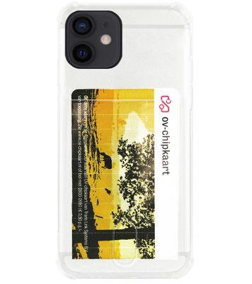 ADEL Siliconen Back Cover Softcase Hoesje voor iPhone 12 Mini - Pasjeshouder Doorzichtig