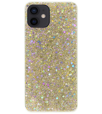 ADEL Premium Siliconen Back Cover Softcase Hoesje voor iPhone 12 Mini - Bling Bling Glitter Goud