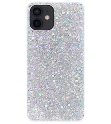 ADEL Premium Siliconen Back Cover Softcase Hoesje voor iPhone 12 Mini - Bling Bling Glitter Zilver