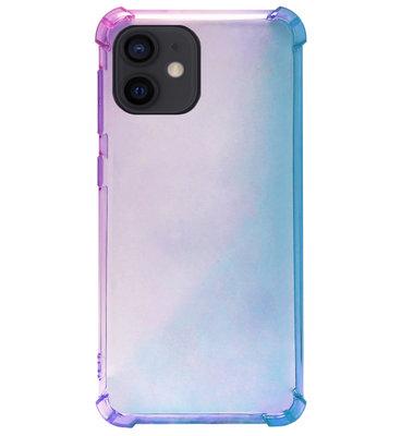 ADEL Siliconen Back Cover Softcase Hoesje voor iPhone 12 Mini - Kleurovergang Blauw Paars