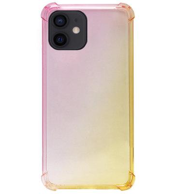 ADEL Siliconen Back Cover Softcase Hoesje voor iPhone 12 Mini - Kleurovergang Roze Geel