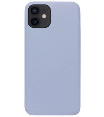 ADEL Premium Siliconen Back Cover Softcase Hoesje voor iPhone 12 Mini - Lavendel Grijs