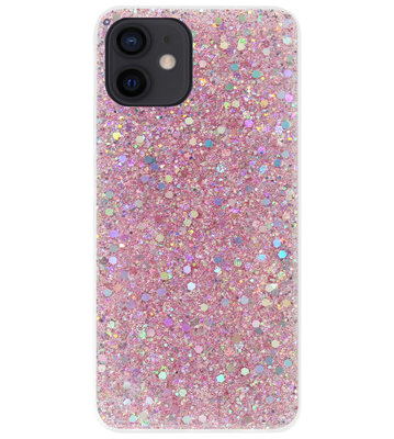 ADEL Premium Siliconen Back Cover Softcase Hoesje voor iPhone 12 Mini - Bling Bling Roze