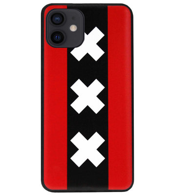 ADEL Siliconen Back Cover Softcase Hoesje voor iPhone 12 Mini - Amsterdam Andreaskruisen