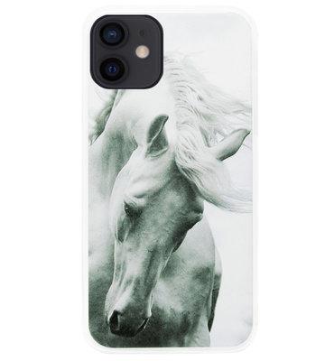 ADEL Siliconen Back Cover Softcase Hoesje voor iPhone 12 Mini - Paarden