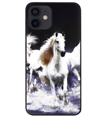 ADEL Siliconen Back Cover Softcase Hoesje voor iPhone 12 Mini - Paarden Wit