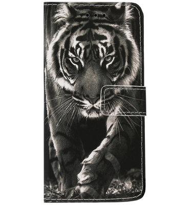 ADEL Kunstleren Book Case Pasjes Portemonnee Hoesje voor iPhone 12 Mini - Tijger Zwart