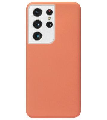 ADEL Premium Siliconen Back Cover Softcase Hoesje voor Samsung Galaxy S21 Ultra - Oranje