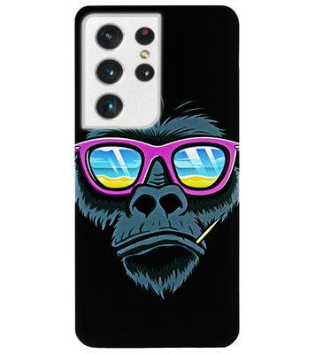 ADEL Siliconen Back Cover Softcase Hoesje voor Samsung Galaxy S21 Ultra - Gorilla Apen
