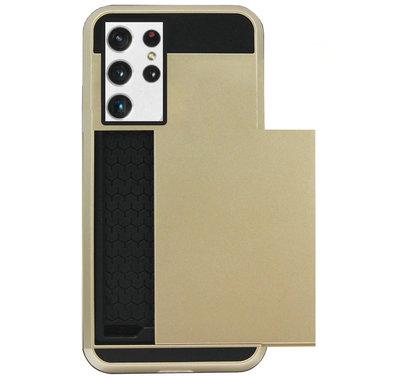 ADEL Kunststof Back Cover Hardcase Hoesje voor Samsung Galaxy S21 Ultra - Pasjeshouder Goud