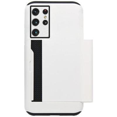 ADEL Kunststof Back Cover Hardcase Hoesje voor Samsung Galaxy S21 Ultra - Pasjeshouder Wit