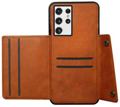 ADEL Kunstleren Back Cover Pasjeshouder Hoesje voor Samsung Galaxy S21 Ultra - Bruin