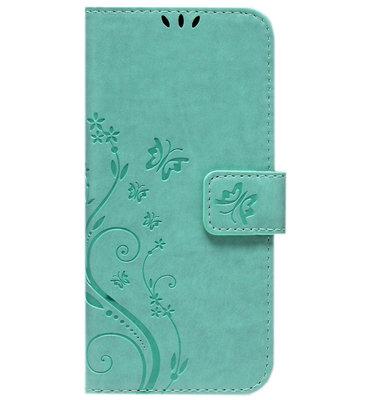 ADEL Kunstleren Book Case Pasjes Portemonnee Hoesje voor Samsung Galaxy S21 Ultra - Vlinder Groen