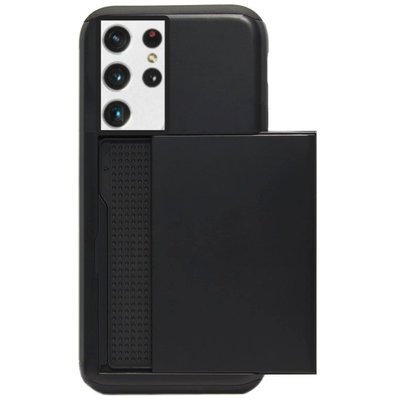 ADEL Kunststof Back Cover Hardcase Hoesje voor Samsung Galaxy S21 Ultra - Pasjeshouder Zwart
