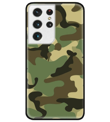 ADEL Siliconen Back Cover Softcase Hoesje voor Samsung Galaxy S21 Ultra - Camouflage