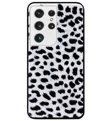 ADEL Siliconen Back Cover Softcase Hoesje voor Samsung Galaxy S21 Ultra - Luipaard Wit