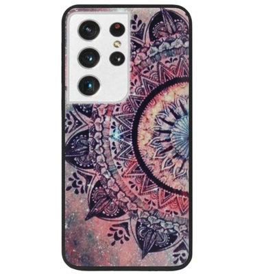 ADEL Siliconen Back Cover Softcase Hoesje voor Samsung Galaxy S21 Ultra - Mandala Bloemen Rood
