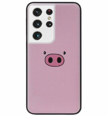 ADEL Siliconen Back Cover Softcase Hoesje voor Samsung Galaxy S21 Ultra - Biggetje