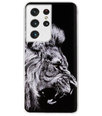 ADEL Siliconen Back Cover Softcase Hoesje voor Samsung Galaxy S21 Ultra - Leeuw Zwart