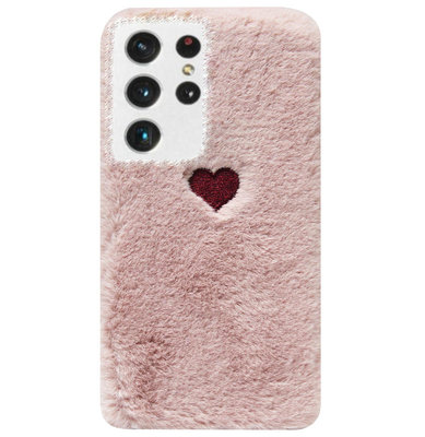 ADEL Siliconen Back Cover Softcase Hoesje voor Samsung Galaxy S21 Ultra - Hartjes Roze