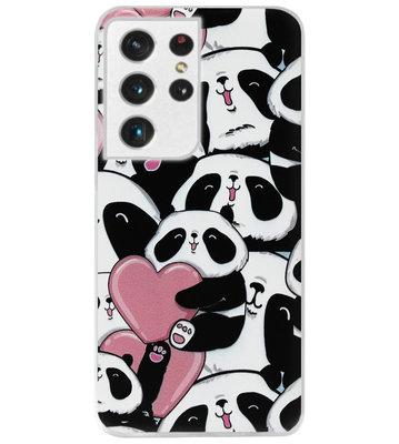 ADEL Siliconen Back Cover Softcase Hoesje voor Samsung Galaxy S21 Ultra - Panda Hartjes