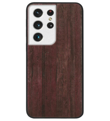 ADEL Siliconen Back Cover Softcase Hoesje voor Samsung Galaxy S21 Ultra - Hout Design Bruin