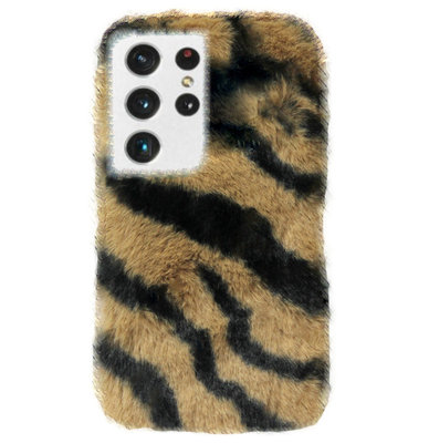 ADEL Siliconen Back Cover Softcase Hoesje voor Samsung Galaxy S21 Ultra - Luipaard Fluffy Bruin