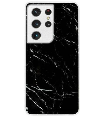 ADEL Siliconen Back Cover Softcase Hoesje voor Samsung Galaxy S21 Ultra - Marmer Zwart