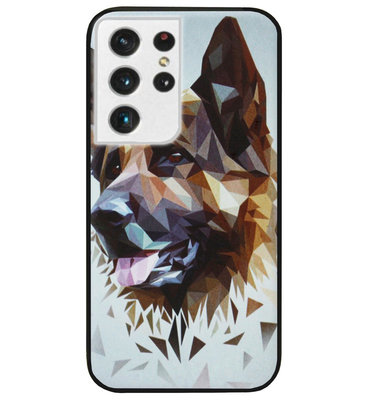 ADEL Siliconen Back Cover Softcase Hoesje voor Samsung Galaxy S21 Ultra - Duitse Herder Hond