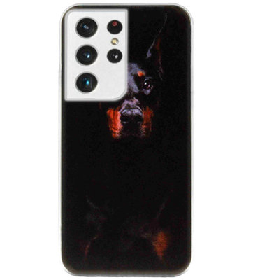 ADEL Siliconen Back Cover Softcase Hoesje voor Samsung Galaxy S21 Ultra - Dobermann Pinscher Hond