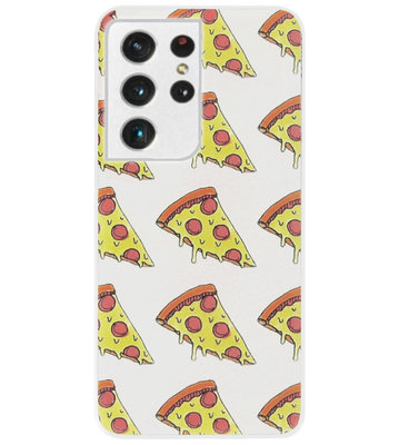 ADEL Siliconen Back Cover Softcase Hoesje voor Samsung Galaxy S21 Ultra - Junkfood Pizza