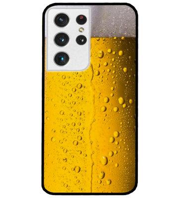 ADEL Siliconen Back Cover Softcase Hoesje voor Samsung Galaxy S21 Ultra - Pils Bier